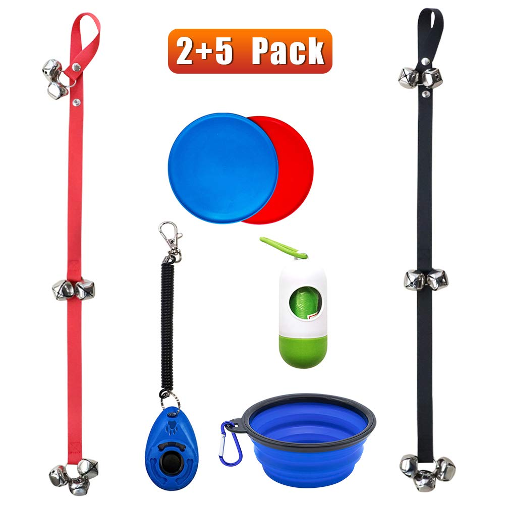 TAKEBEST Dog DoorBells for Potty Training Dog Doorbell with Collapsible Travel Pet Cat Dog Bowl /& Training Clicker /& Frisbee /& Waste Bag Dispenser Set of 2 Adjustable Puppy Bell for Potty Training