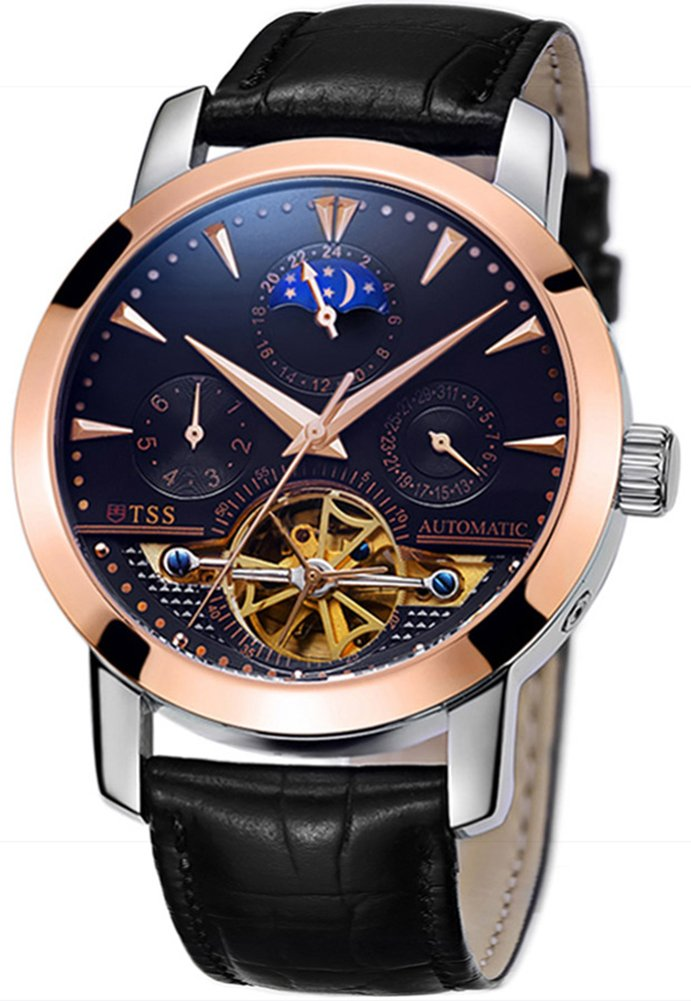TSS Men's Automatic Tourbillon Moonphase Watch T8030N0 - Stainless Steel Round Watch Synthetic Sapphire Pure & Clear Window - Precise Movement Analog Display - Water Resistant up to 50m