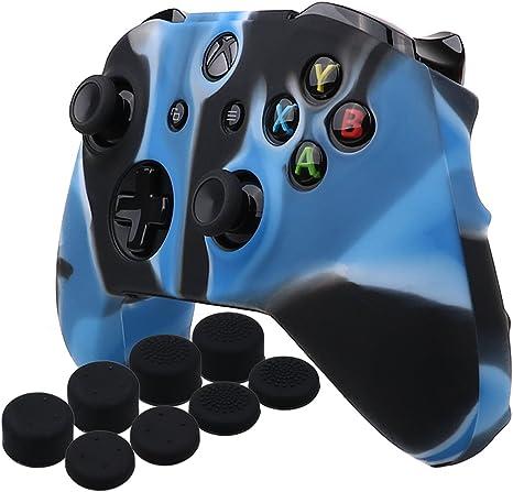 YoRHa silicona caso piel Fundas protectores cubierta para Microsoft Xbox One X y Xbox One S Mando x 1 (Camuflaje azul) Con Pro los puños pulgar thumb grips x 8: Amazon.es: Videojuegos