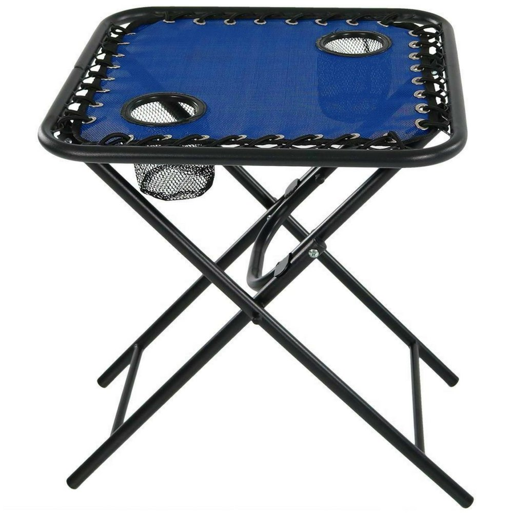 Square Folding Table Outdoor Portable Side Table with Cup Holders Steel Lightweight Quick Fold Weather & Fade Resistant for Beach CampIng Patio Pool Home Easy Storage & eBook by BADA shop