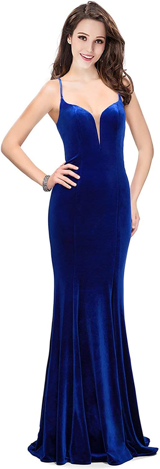LMBRIDAL Womens Velvet Spaghetti Strap Evening Dress Memaid V Neck Formal Gown Long