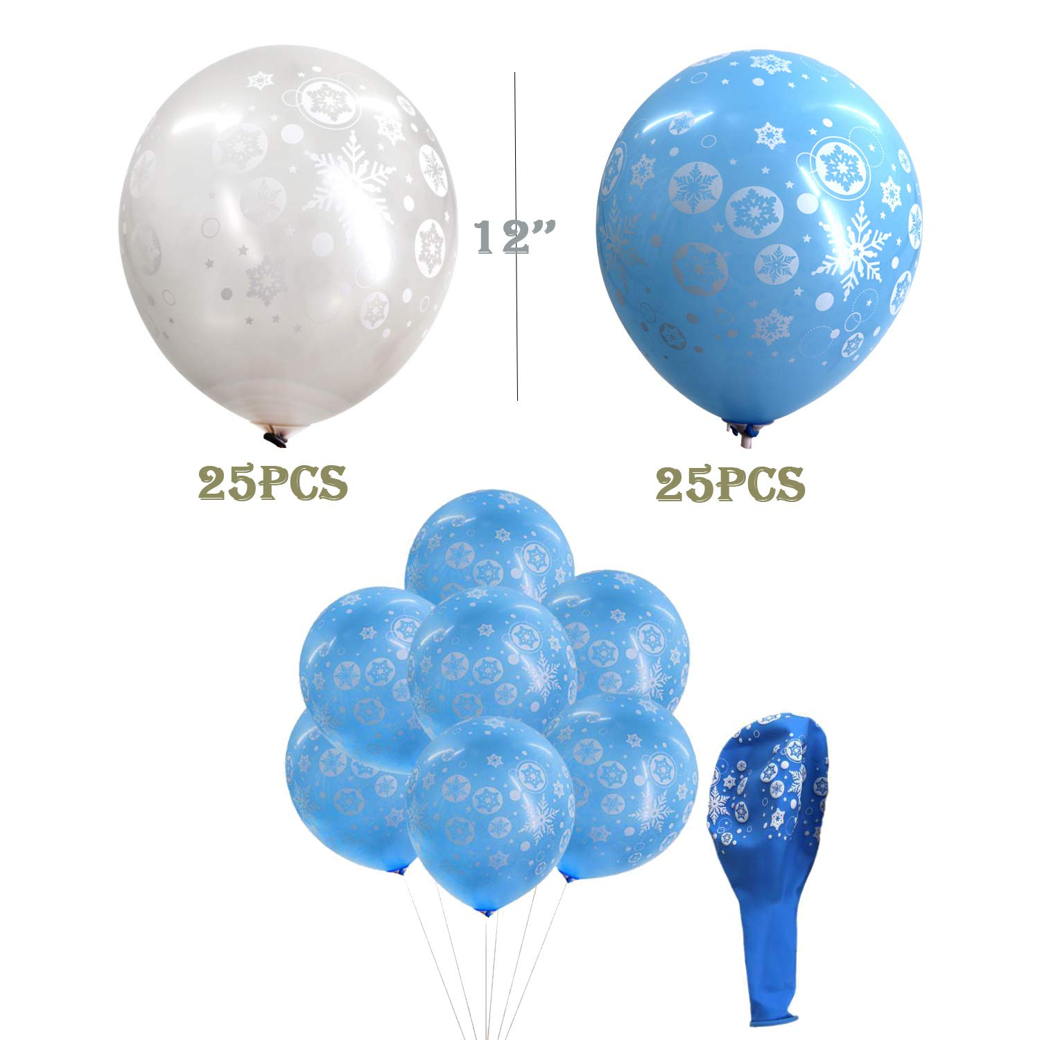 Christmas Balloons Snowflakes 50 Pieces Latex Balloons Winter Theme Balloons Baby Shower Birthday Christmas Party Decoration 12 inches Gray /& Blue