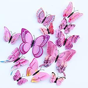 PVC Beautiful 3D Butterfly Wall Decals, 12pcs Removable DIY Home Decorations Double Layer Butterflies Wall Stickers Murals for Garden Bedroom Birthday Party Wedding TV Background Living Room(Pink)