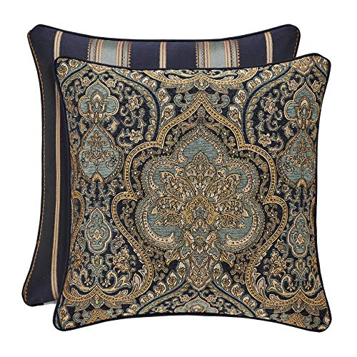 Five Queens Court Palmer 20 Inch Square Damask Throw Pillow, Teal Navy Gold,