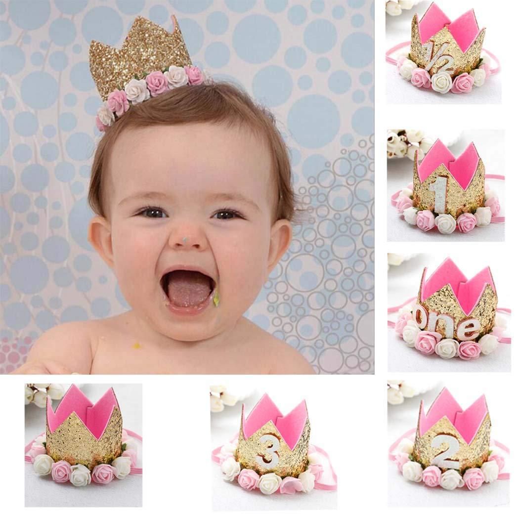 Simsly nouveau-né bébé fille brillant Paillettes Couronne dorée Fleur Rose Bandeau 1st fête d'anniversaire Festival Headwear Accessoires Cheveux