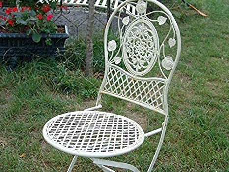 Jardin Fer Chaise Style Ancien Blanc Metal Mobilier Forge ...