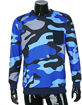 Mens Tops, Mens Long Sleeve Casual Patch Pocket Camouflage Tee Pullpver Top Sweat Shirt Blouse