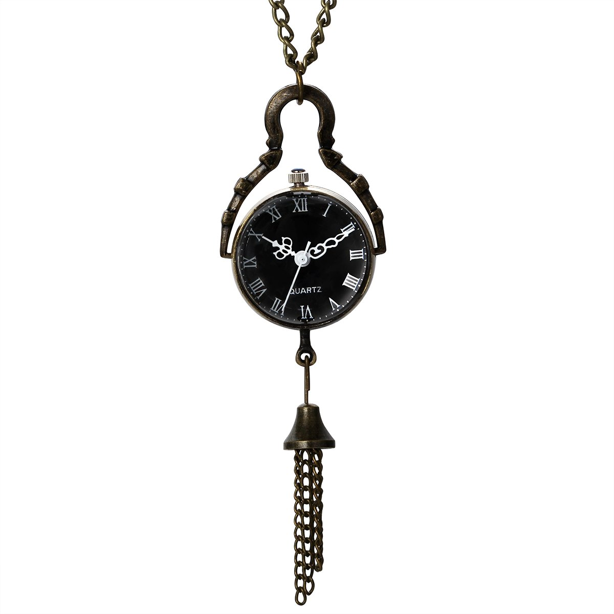 JewelryWe Mothers Day Gift Vintage Retro Black Dial Quartz Ball Glass Pocket Watch Necklace 31.5 inch Chain Steampunk (with Gift Bag)