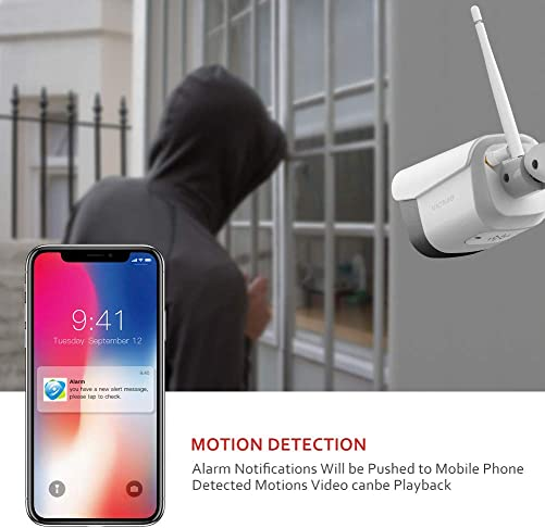 Victure 1080P Wireless Outdoor Security Camera 2.4G Bullet WiFi Security Camera with IP66 Weatherproof Motion Detection Night Vision 2-Way Audio Compatible with iOS Android System