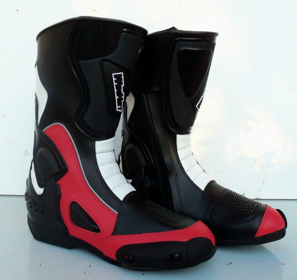 Taglia 47 WinNet Stivali per moto da pista con protezione antitorsione rossi