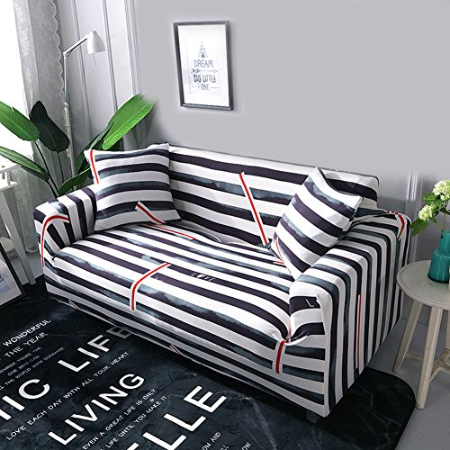 (DW&HX Anti-Slip Stretch Sofa slipcovers,1-Piece Polyester Couch Cover Furniture Protector with Elastic Straps for 1 2 3 4 Cushions Sofas Without Pillowcase-Black Striped Sofa)