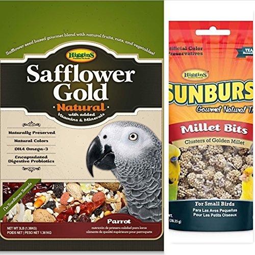Higgins Safflower Gold Natural Food Mix for Parrots, Parrot food, Large Bird Food 3lbs Plus A 1 oz Sunburst Gourmet Natural Bird Treats, Millet Bits