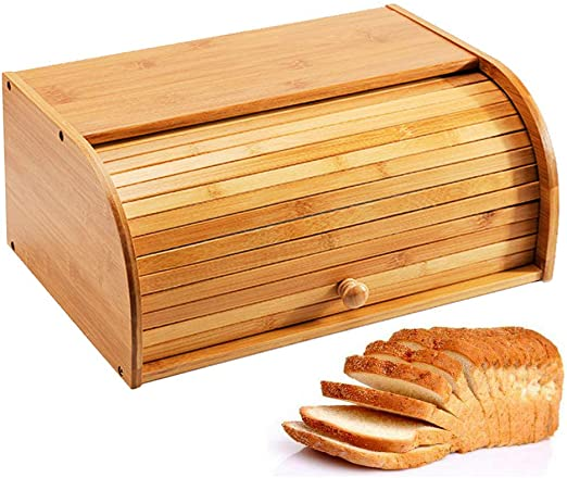 Natural Wooden Roll Top Bread Box Kitchen Bamboo Storage Bin