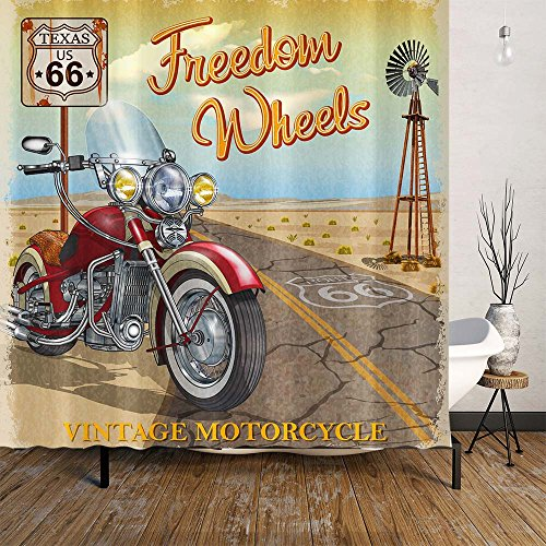 Route 66 Motorcycle (Orange Design American Nostalgic Style Motorcycle on 66 Route Desert with 12 Plastic Hooks Waterproof and Mildew Resistant Curtains for Bathroom, Home Decor 71x71 inch, Highway Travel (Motorcycle))