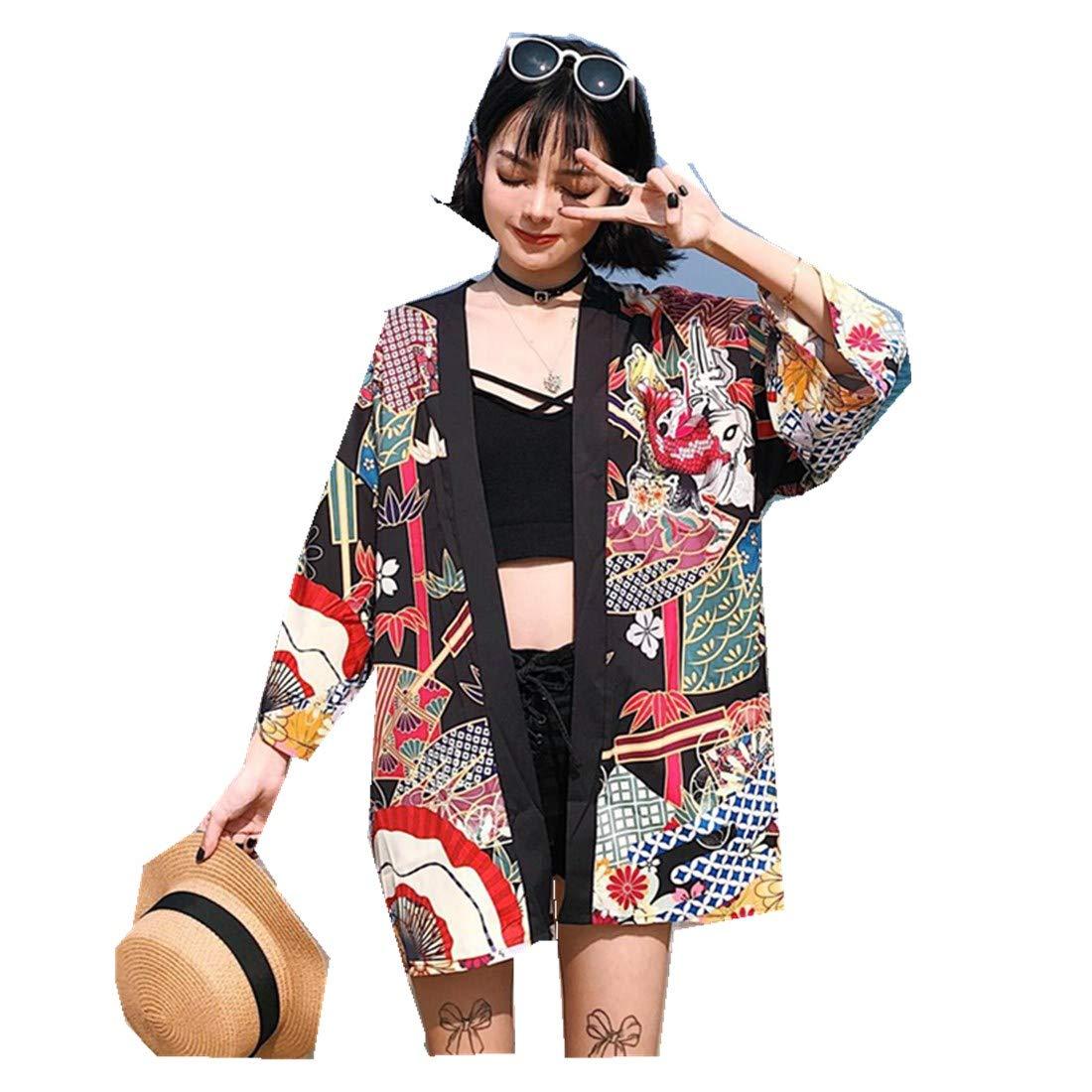 Real Shot Japanese Wind Printed Loose Pattern Back Squid Kimono Jacket Women