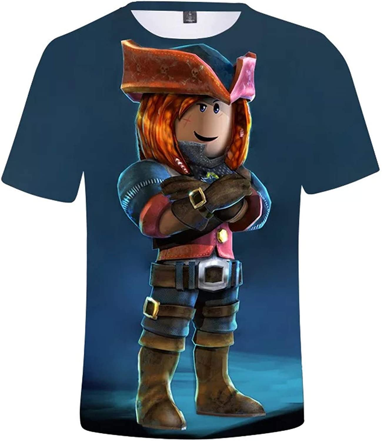 2T-14Y fashion 1938 Child Boys Roblox Round Neck Summer T Shirts-3D Print Short Sleeve Cotton Shirts for Kids