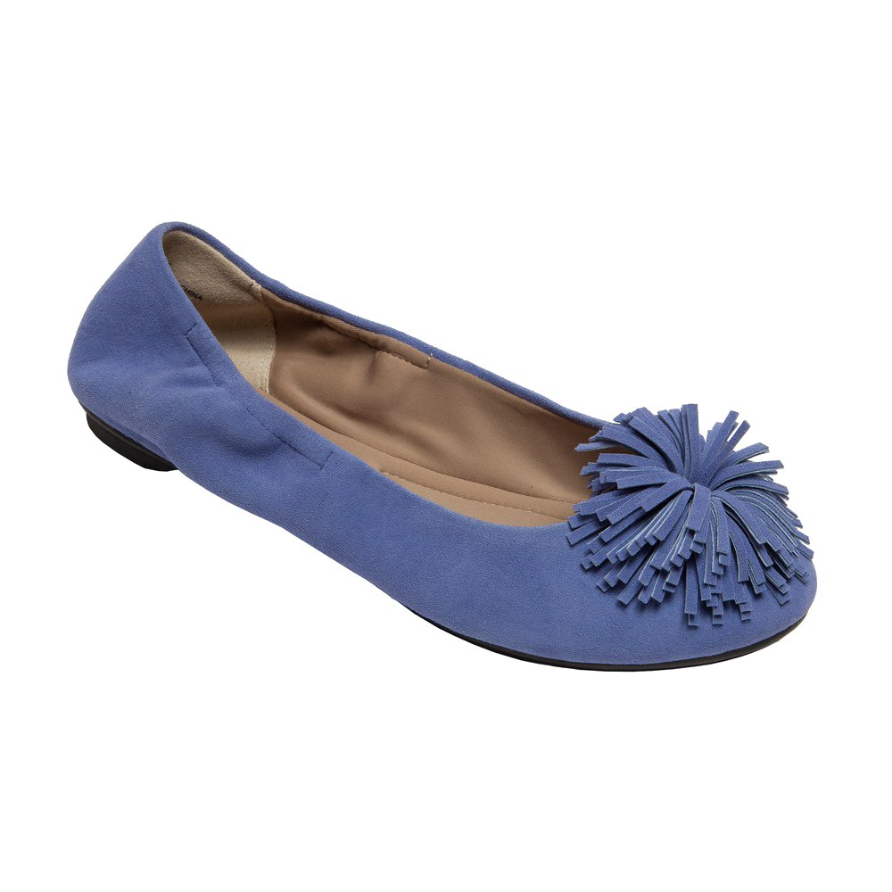 PIC/PAY Kiana - Women's Tassel Elastic Ballet Flat - Embellished Suede Leather Pompom Comfortable Slip-On B0752ZVNJ6 8 B(M) US|Navy Blue Suede