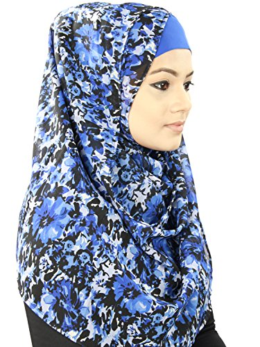 MyBatua Blue Floral Print Georgette Hijab, Islamic, Girl, Head Wear, Scarf HJ-056 (Square(100100 cm)) - Blue Floral Georgette