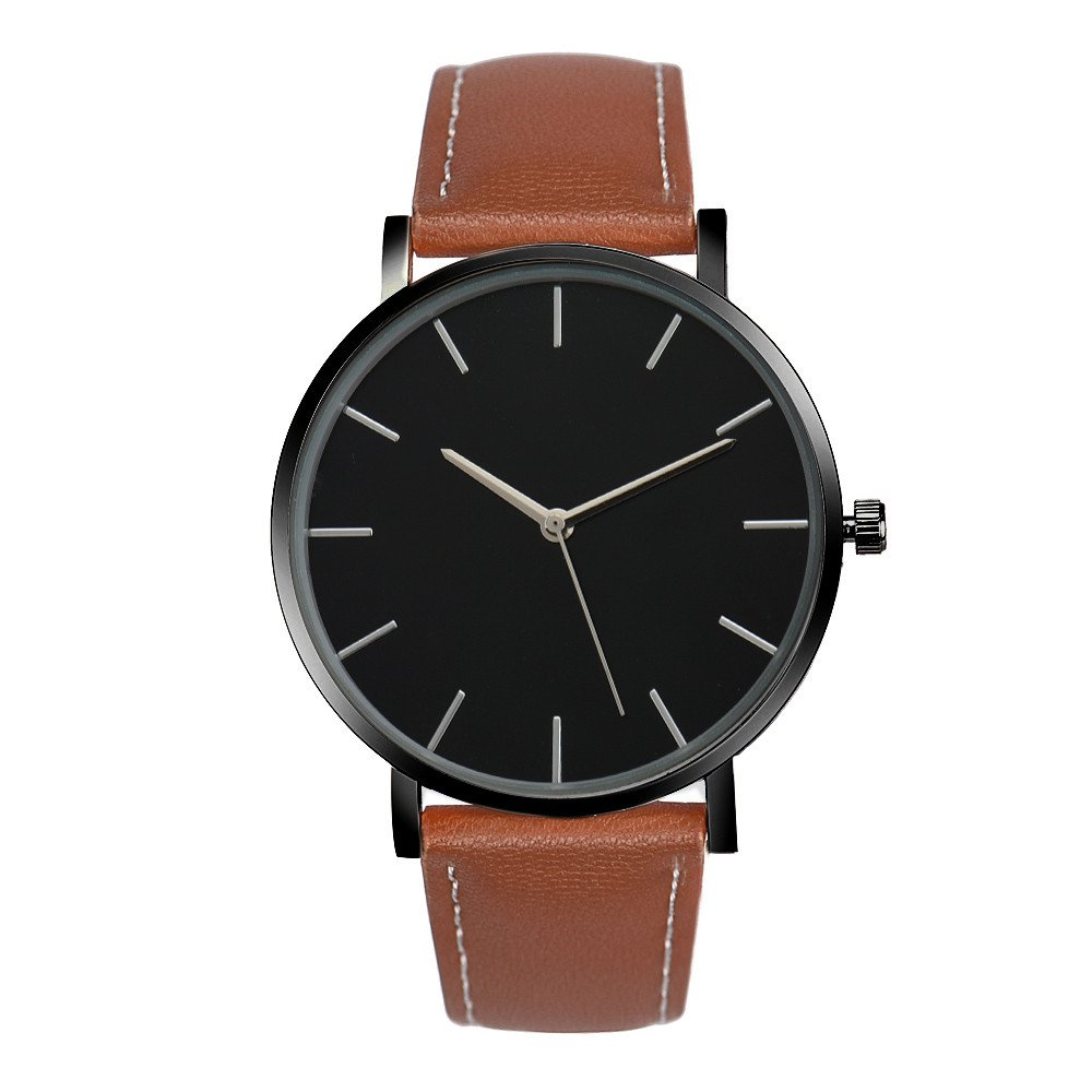 FAPIZI Quartz Watch}Clearance✿Mens Womens Luxury Famous Brand Gold Leather Band Wrist Watches (Brown)