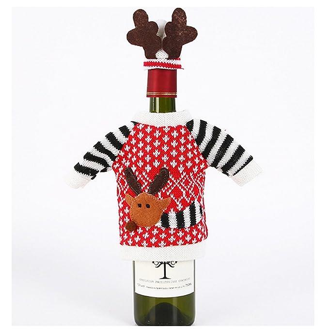 Sharplace Cubierta Abrigo Novedad de Navidad de Vino Botella Decoración Elk Deer Pattern: Amazon.es: Hogar