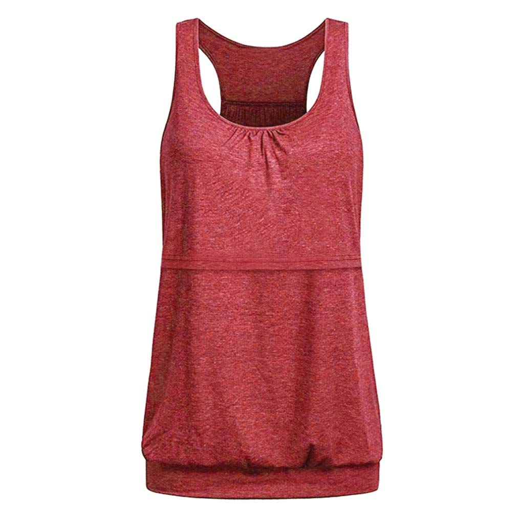 general3 Women Maternity Tank Tops Sleeveless Layered Nursing Vest Shirt Breastfeeding Tunic Blouse