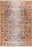Helen Gold Modern Vintage Floral Traditional Area Rug 4 x 6 (3'11'' x 5'7'') Antique Weathered Oriental Multicolor Pattern