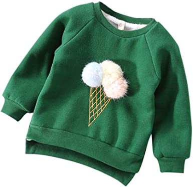 Infant Baby Kids Boys Girls T-shirt 3D Ice Cream Warm Sweatshirt Outfits Tops