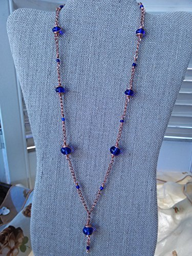 Copper and cobalt blue glass necklace
