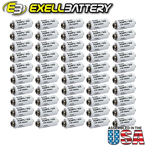 50pc Exell A24PX 3V Alkaline Battery V24PX RPX24 532 PX24 EPX24 2LR50 by Exell Battery