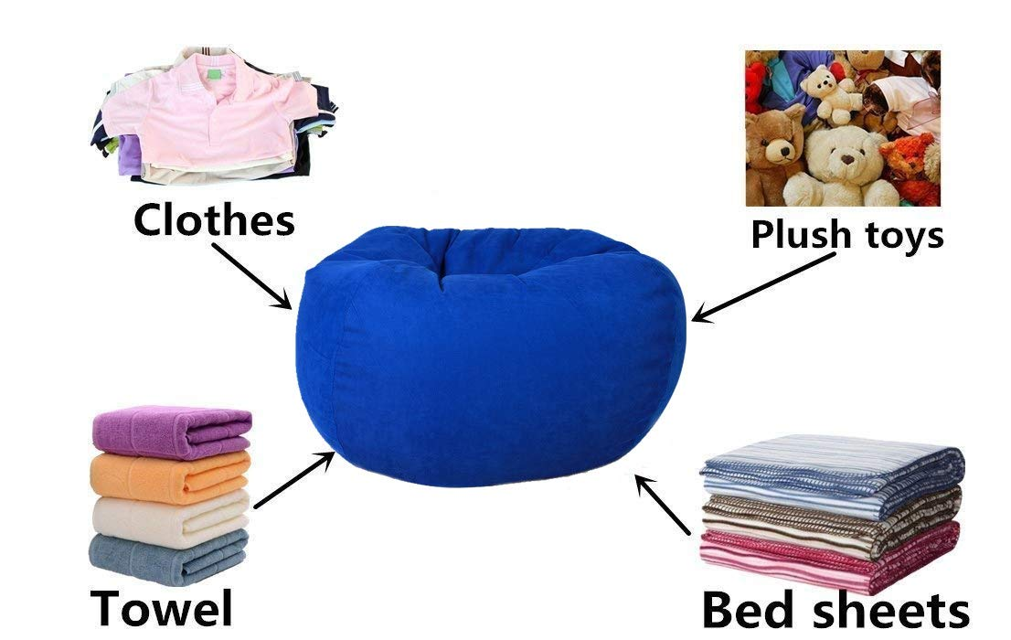 Lukeight Stuffed Animal Storage Bean Bag Chair Large//Chevron Pink Fits a Lot of Stuffed Animals Bean Bag Cover for Organizing Kid/'s Room