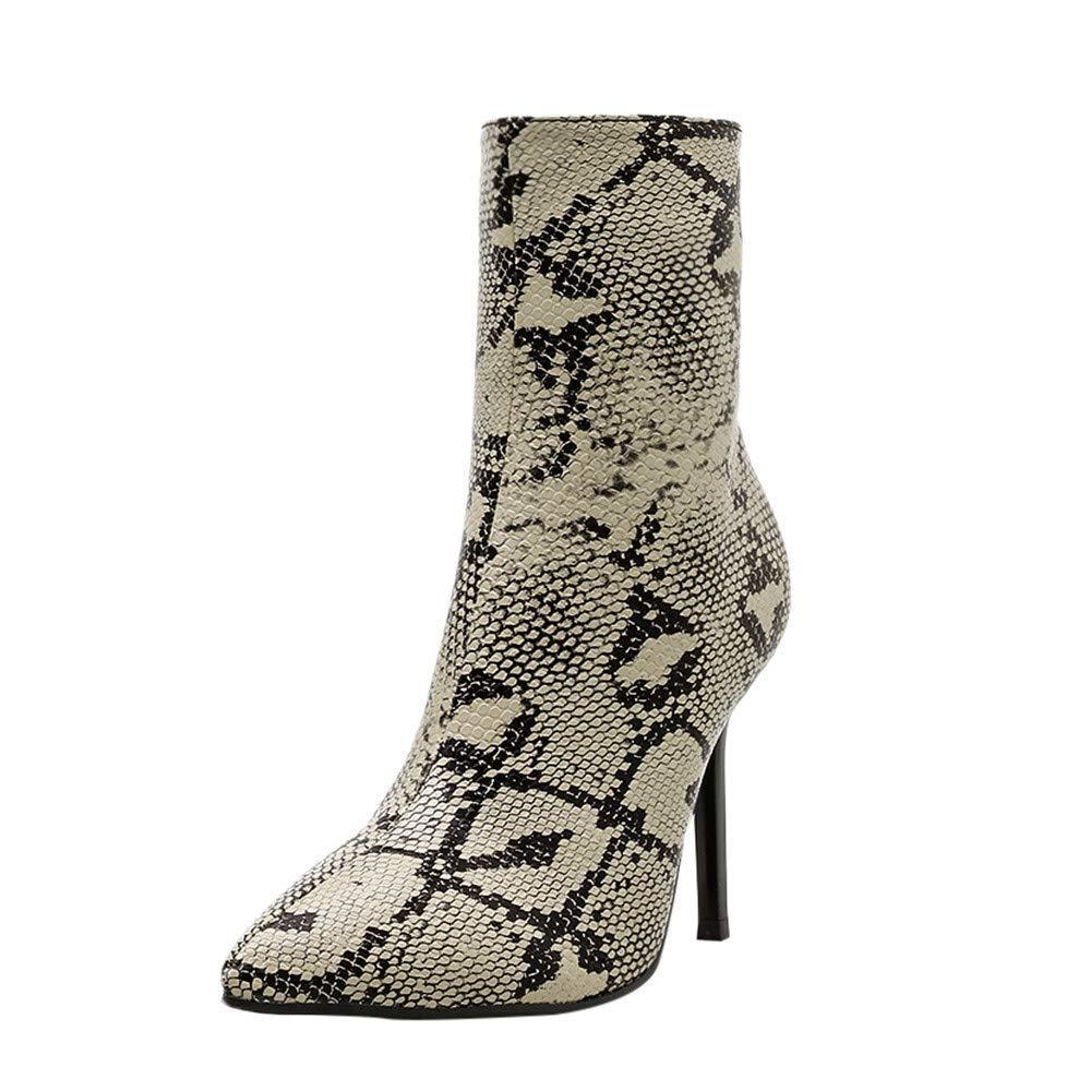 ZHRUI Damen High Heel Stiefel, Damen Damen Damen Pu Leder Reißverschluss Schlange Haut Schuhe Casual Outdoor Stilvolle für Winterwandern Wandern Biker Stiefel (Farbe   Khaki, Größe   5.5 UK) f4fab4