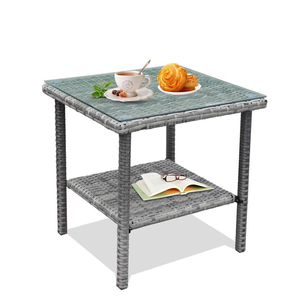 LEAPTIME Patio Side Table Coffee Table Tea Table Mixed Gray Rattan Outdoor Indoor Square Table Balcony End Table