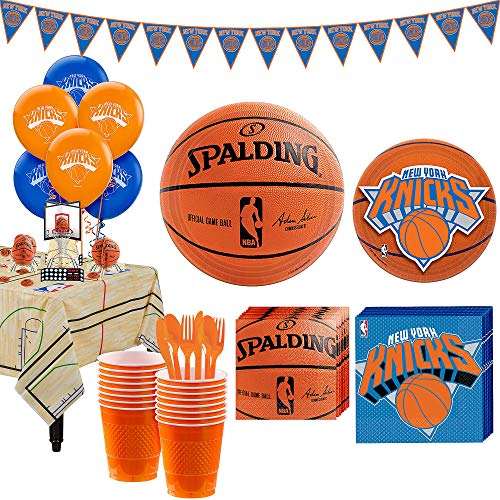 Party City Super New York Knicks Party Kit for 16 Guests, Includes Table Cover, Decorations and Tableware