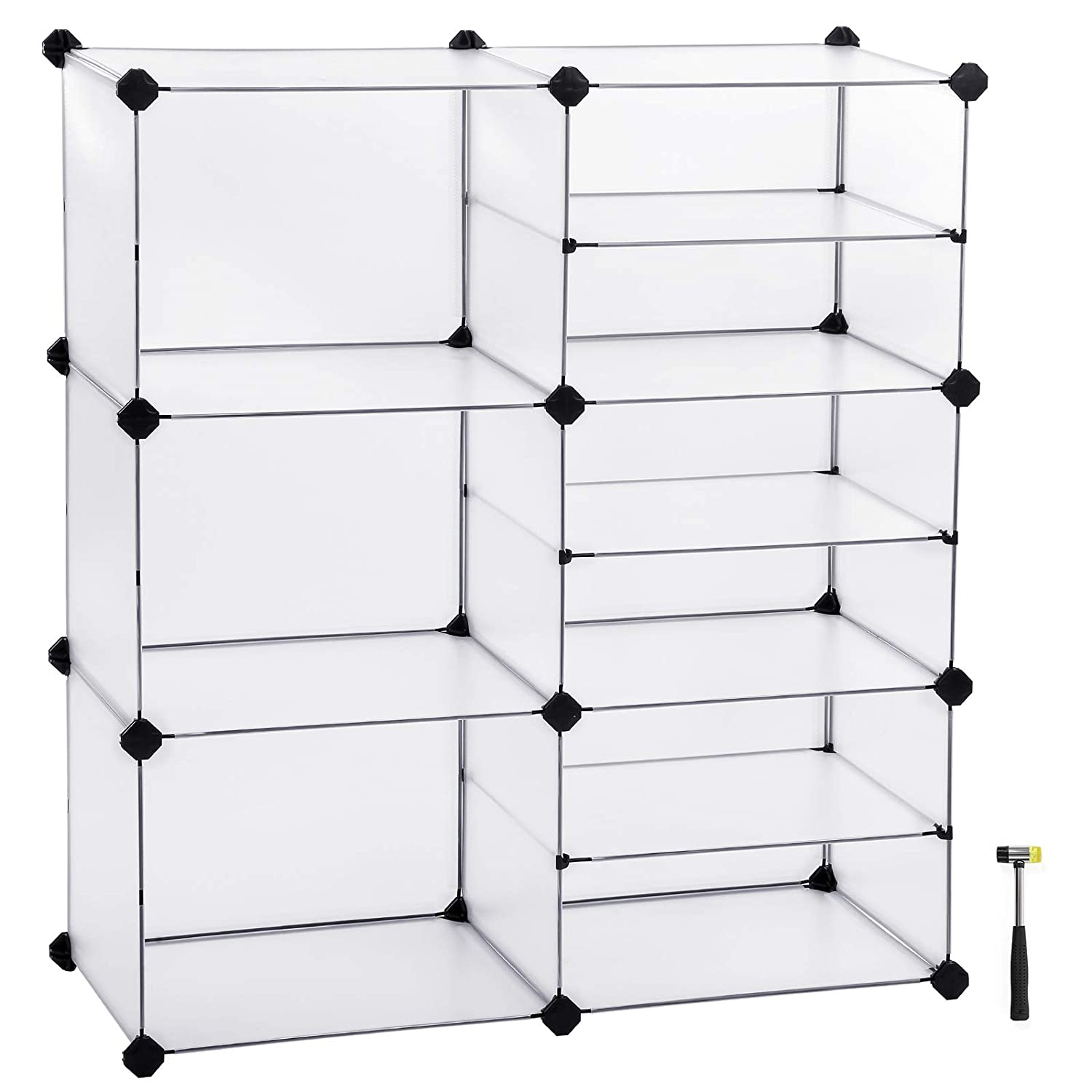SONGMICS Cube Storage, Interlocking Plastic Cubes Organizer with Divider Design, Modular Closet Cabinet, Bookcase for Closet Bedroom Kid's Room, Includes Rubber Mallet, White, ULPC36W
