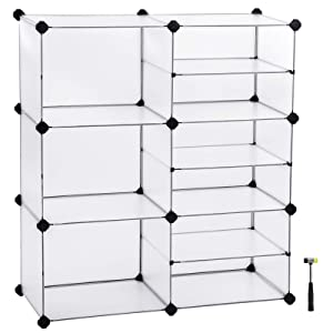 "SONGMICS Cube Storage Organizer, Interlocking Plastic Cubes with Divider Design, Modular Cabinet, Bookcase for Closet Bedroom Kid's Room, Includes Rubber Mallet, 34.3""L x 12.6""W x 37.8""H White ULPC36W"