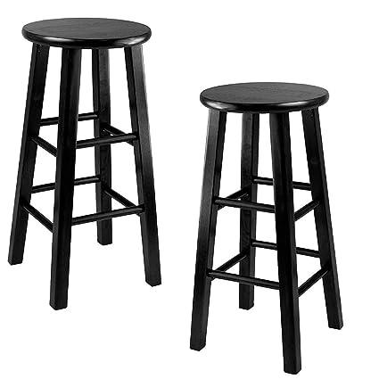 premium selection 81f2f e5486 Amazon.com: TSR Wooden Stool Round Stool Set of 2 Wood Bar ...