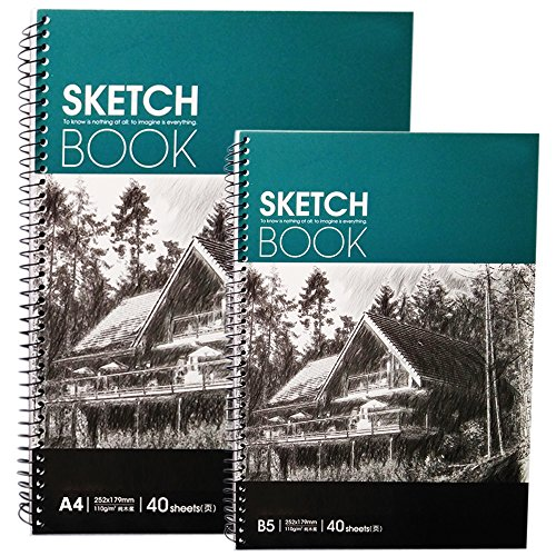 Happlee Artist Series Universal Sketch Pad, Sketch Spiral Paper Books Set, Binding Spines Professional Drawing Paper with Sizes 9.9 x7.0 Inches-40 Sheets and 11.7x8.3 Inches-40 Sheets