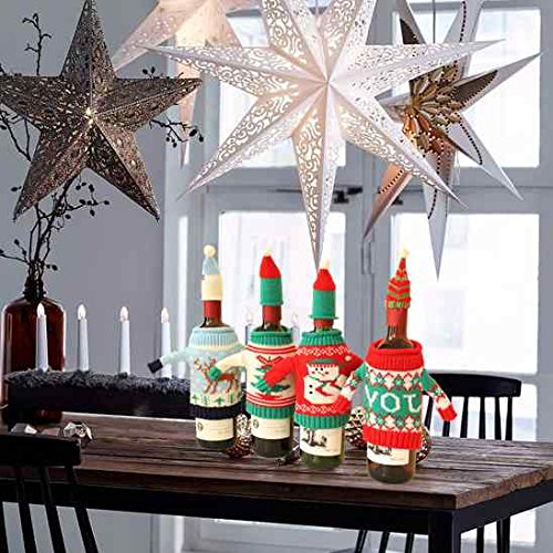 FEFEHOME Christmas Wine Bottle Cover Gift Warping Ugly Sweater (Set of 4) -(F) by FEFEHOME (Image #2)
