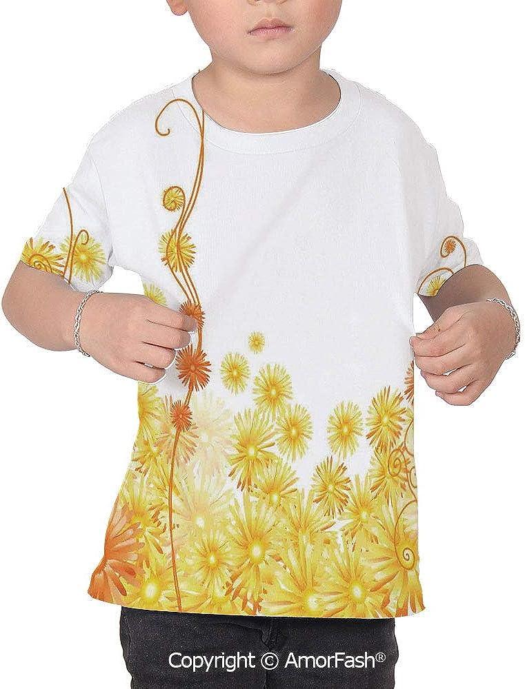 Yellow Over Print T-Shirt,Boy T Shirt,Size XS-2XL Big,Curling Golden a Flo