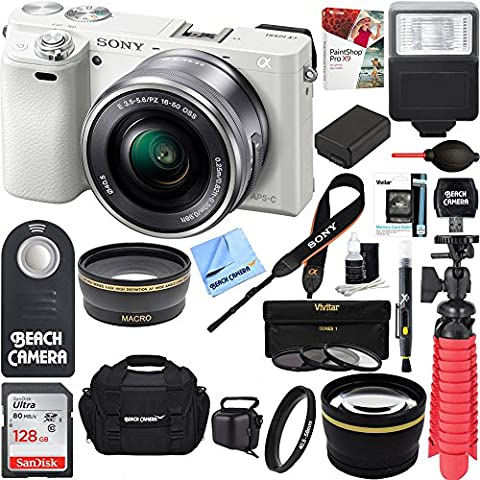 Sony Alpha a6000 24.3MP Wi-Fi Mirrorless Digital Camera + 16-50mm Lens Kit (White) + 128GB Accessory Bundle + Photo Bag + Extra Battery+Wide Angle Lens+2x Telephoto - Sony 12 Inch