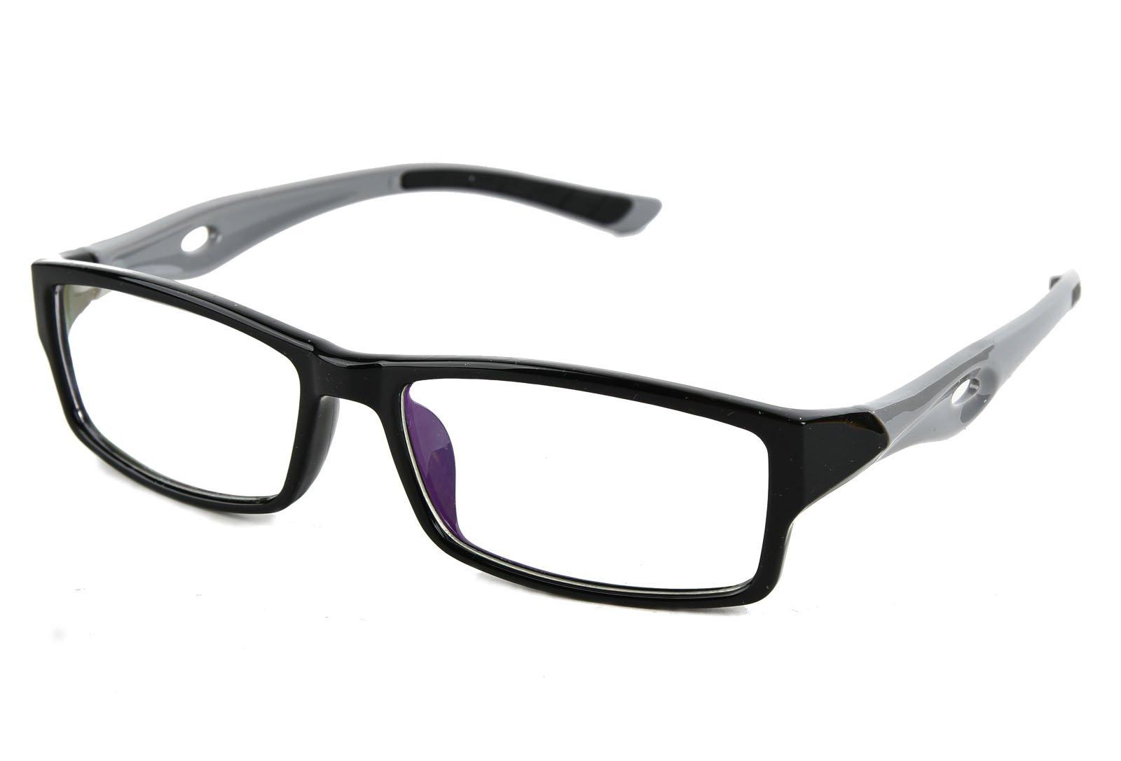 Beison Sports Optical Eyeglasses Frame Plain Glasses Clear Lens UV400 (Black frame with grey temples, 53mm)