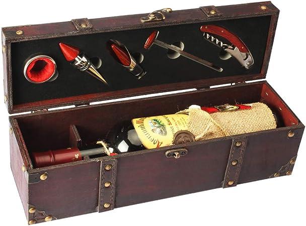 Compra YOBANSA Cofre de madera antiguo caja de almacenamiento con asa, caja de botella de vino con juego de accesorios de vino, caja de regalo de vino de madera Tapón ...