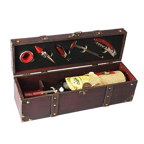 Yobansa Caja de almacenamiento de madera antigua del pecho, caja de la botella de vino