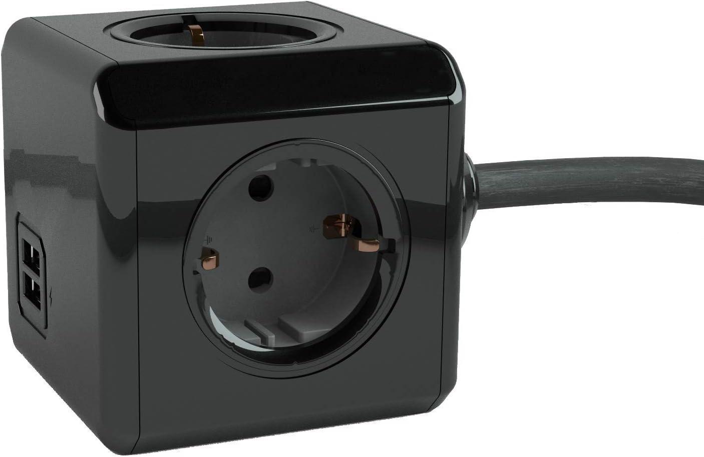 Powercube Schwarze 4er Mehrfachsteckdose Extended Elektronik