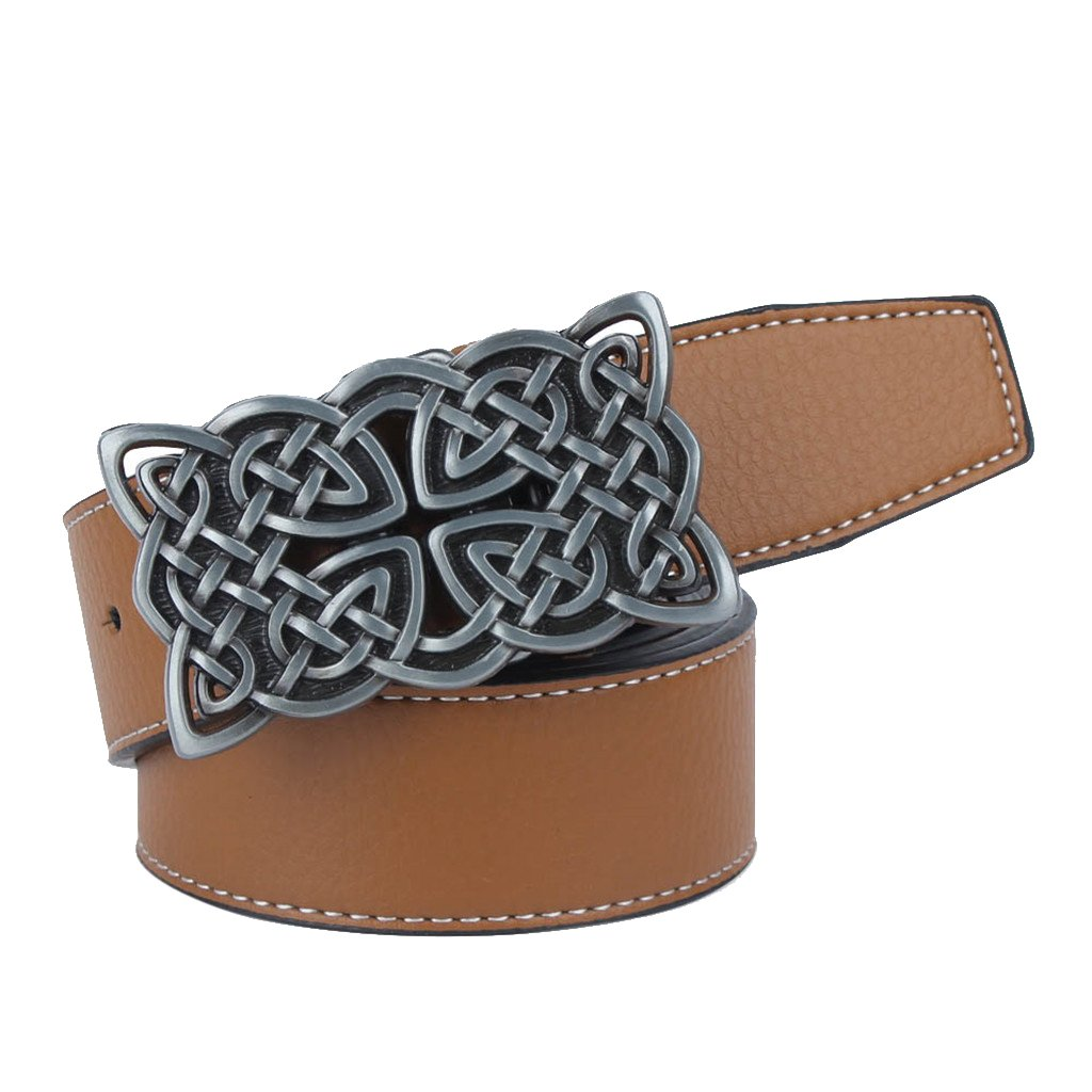 Baoblaze Vintage Fashion Cowboy Belt Adjustable Celtic Buckle Turquoise Women Mens
