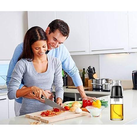 Aceite de oliva, rellenable, Mister, Bomba de mano pulverizador de cocina, botella de vidrio dispensador de vinagre, cocina. Con tapa, presión de aire solo ...