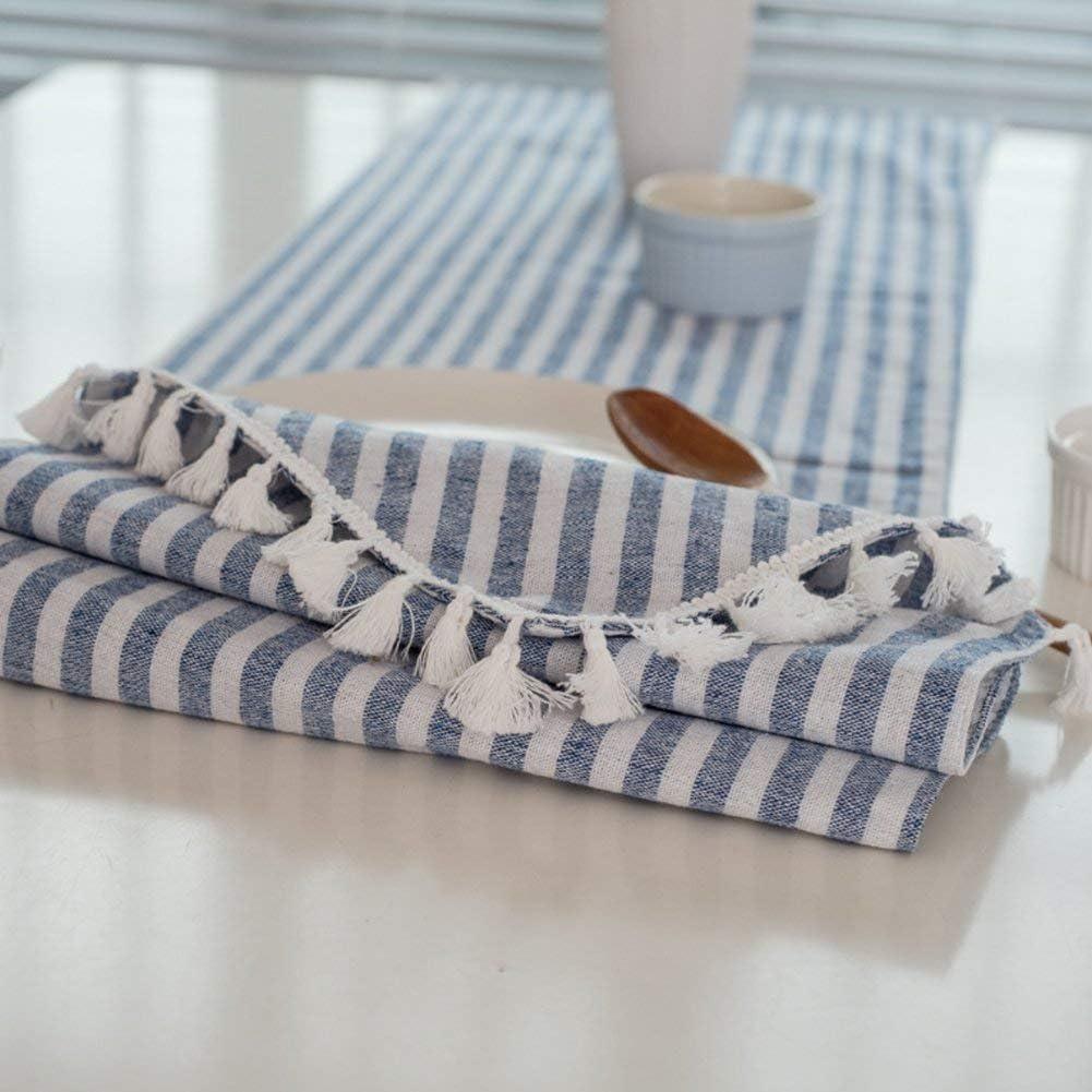 Meiosuns Nappe Ray/ée Nappe Fringe Nappe en Coton Simple Usage Int/érieur Ext/érieur Abricot//Rayures Blanches, 30 X 140 cm