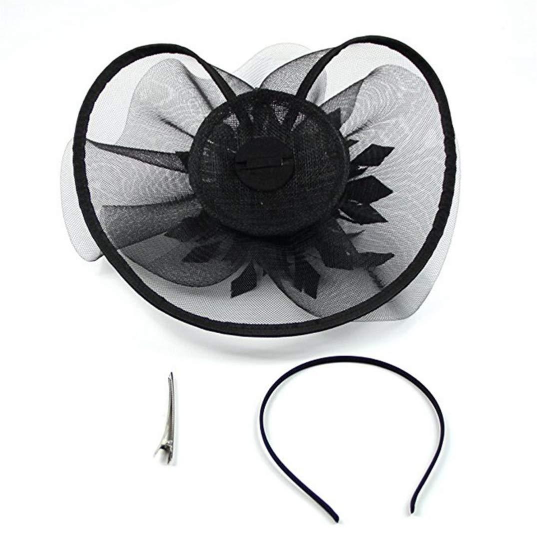 Women Vintage Feather Fascinator Elegant Cocktail Tea Party Bridal Headband Pillbox Flower Derby Hat