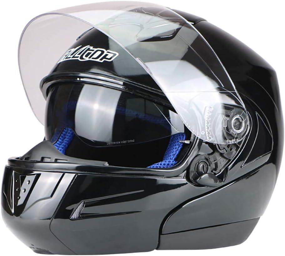 Mmsww Genuina Pegasus Motocicleta Deportes Coche De Alta Gama De Doble Lente Casco Completo Casco Cara-Arriba con Bloqueo De Lente,Black,L