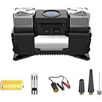 12V Car Tyre Inflator Digital, Air Compressor Tyre Pump LED Light, with 1 Fuse, 3 Additional Valve Adaptors, 1 Extension…
